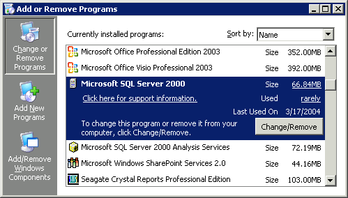 Windows 2003 Add or Remove Programs applet